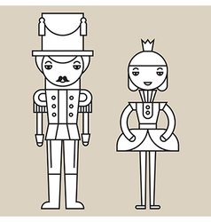 Nutcracker Soldier And Ballerina vector