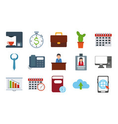 Office supply stationery work business flat style vector
