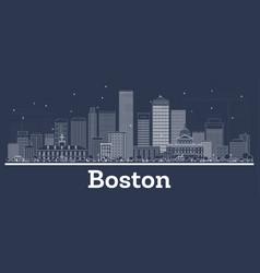 outline boston massachusetts city skyline vector image