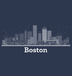 outline boston massachusetts city skyline with vector image