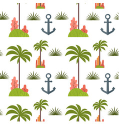 Palm tree and anchor seamless pattern vector