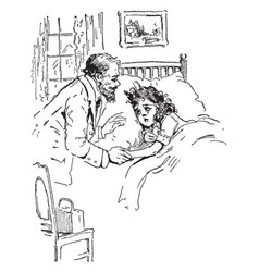 Physician makes house call to sick girl vintage vector