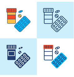 pills pack icon set in line style vector image