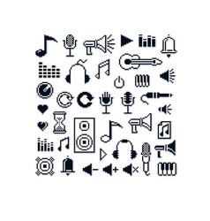 pixel icons isolated collection of 8bit music vector image