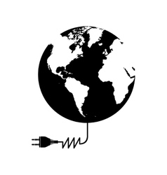 Planet earth and electricity plug icon image vector
