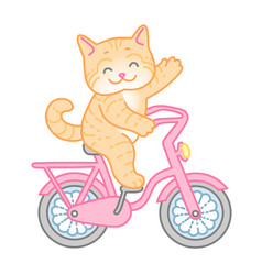 Red cat on bike vector