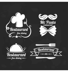 Restaurant logo elements Set of flat logotypes vector image