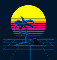retrowave sunset palm vector image