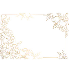 Rose peony border frame decorated corners golden vector