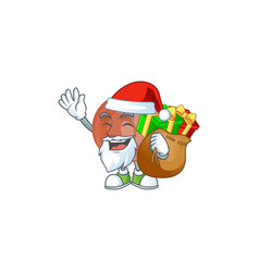 santa with gift bronze coin cartoon character vector image