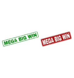 scratched mega big win rubber prints with rounded vector image