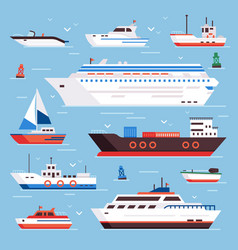 Sea ships cartoon boat powerboat cruise liner vector