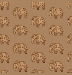 seamless pattern brown elephants ethnic indian orn vector image