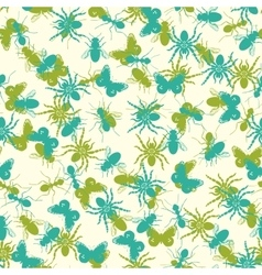 Seamless pattern with insects silhouettes vector