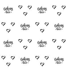 seamless pattern with letterig and hearts vector image