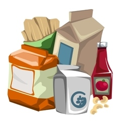 Set of grocery products the consumer vector image