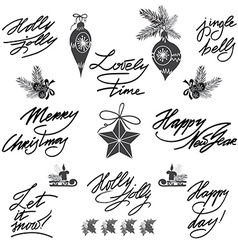 Set of lettering calligraphic text elements in vector image