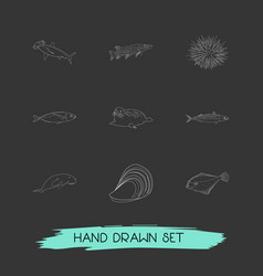 Set of seafood icons line style symbols with vector