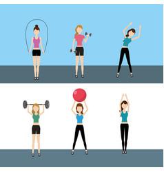 Set women healthy lifestyle to do exercise vector