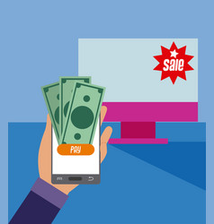shopping online from smartphone vector image