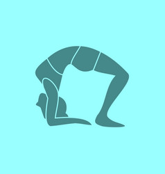 silhouette of wheel pose yoga posture vector image