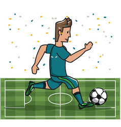 soccer player playing on field vector image