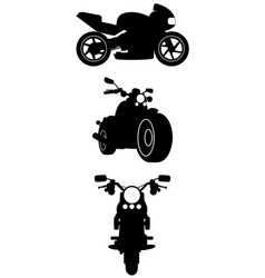 three motorcycle silhouettes vector image