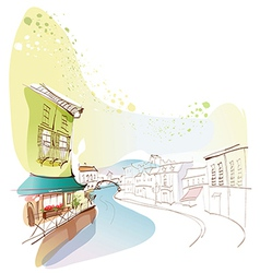 Townscape Canal Drawing vector