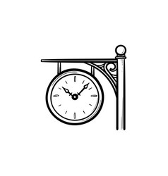 train station clock hand drawn outline doodle icon vector image