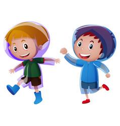 two boys wearing raincoat vector image