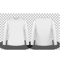 White long sleeve t-shirt front and back side vector