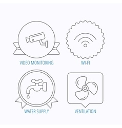 Wifi video camera and ventilation icons vector image
