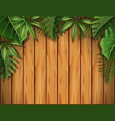 Wooden board with green leaves on top vector