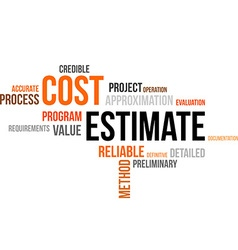 Word cloud cost estimate vector