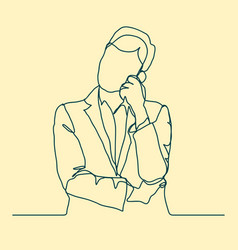 businessman thinking thoughtful man outline vector image vector image