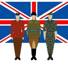 Flag of Great Britain and soldiers vector image vector image