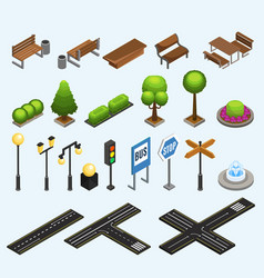 isometric city elements collection vector image
