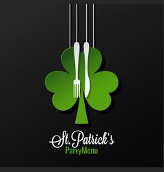 patrick day menu logo design background vector image