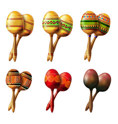 set of mexican maracas musical instrument vector image vector image