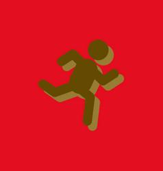 Sprinter icon man run silhouette in sticker style vector