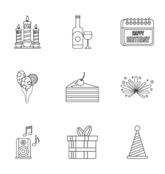 Birthday party icons set outline style vector image vector image