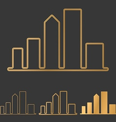 Bronze line city logo design set vector