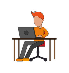 Color image cartoon faceless man sitting in desk vector
