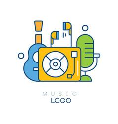 Creative logo template with vinyl record player vector
