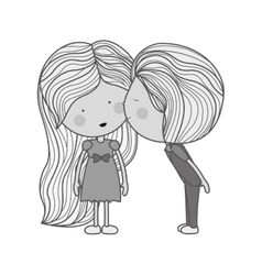 monochrome boy kissing girl in cheek vector image