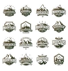 Mountain outdoor icons set vector image