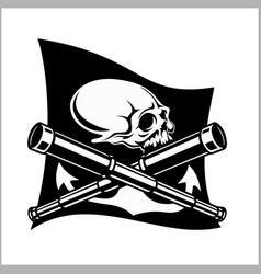 pirates emblem - telescopes and skull black flag vector image vector image