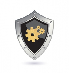 shield with gears vector image