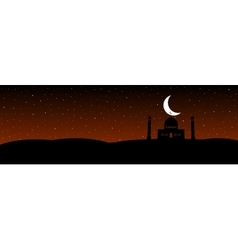 silhouettes mosque with moon on the stars vector image vector image