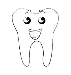 Sketch draw tooth cartoon vector